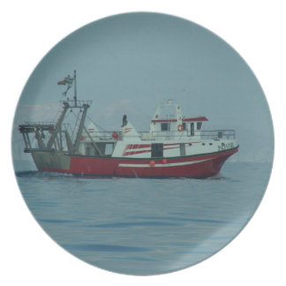 Red And White Trawler Plate
