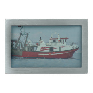Red And White Trawler Rectangular Belt Buckles