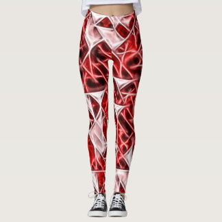 Red and white triangles energetic pattern leggings