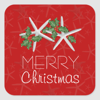 Red and White Tropical Christmas Square Stickers
