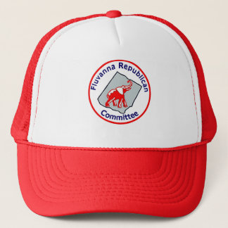 Red and white trucker hat with FRC logo