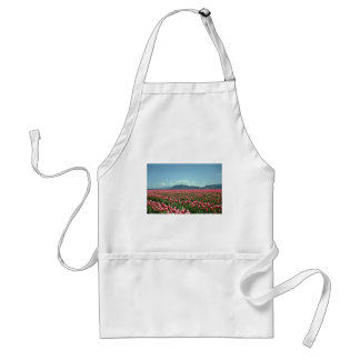 Red And White Tulip Field flowers Aprons