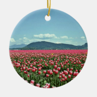Red And White Tulip Field flowers Round Ceramic Decoration