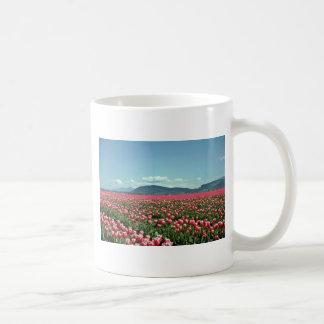 Red And White Tulip Field flowers Basic White Mug