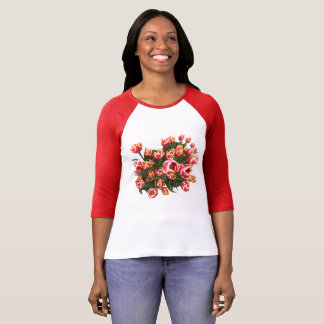 Red and White Tulips 3/4 Sleeve T-Shirt