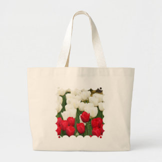 Red and White Tulips Canvas Bag