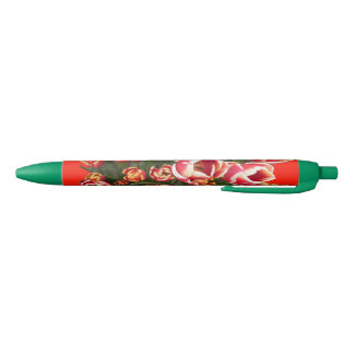 Red and White Tulips Green Pen