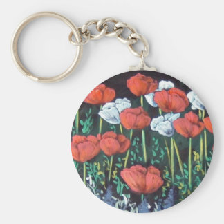 red and white tulips keychain