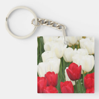 Red and White Tulips Keychain Square Acrylic Key Chains