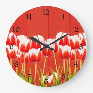 Red and white tulips large clock