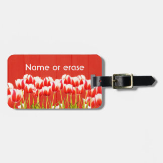 Red and white tulips luggage tag