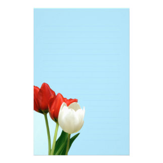 Red and White Tulips on Blue Writing paper