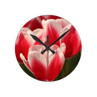 Red and White Tulips Round Clock