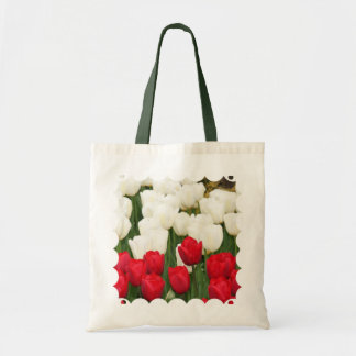 Red and White Tulips Small Bag