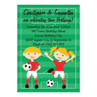 Red and White Twins Soccer Birthday Party 13 Cm X 18 Cm Invitation Card