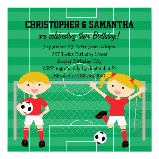 Red and White Twins Soccer v2 Birthday Party Invite