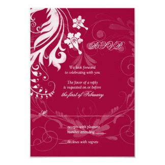 Red and White Vintage Floral Wedding RSVP Card