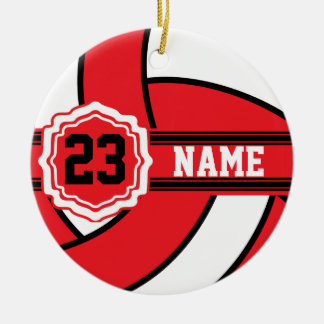 Red and White Volleyball with DIY Text Christmas Ornament