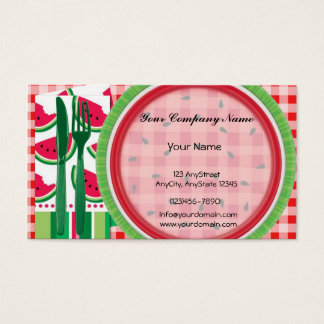 Red and White Watermelon Table Setting Business Card