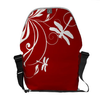 Red and White Whimsical Dragonfly Courier Bag