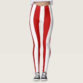 Red and White Wide Stripe Leggings