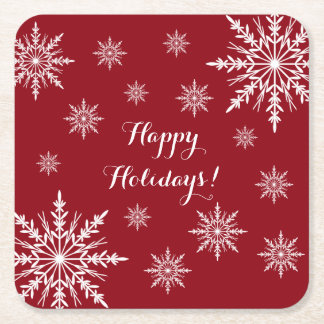 Red and White Winter Snowflakes Happy Holidays Square Paper Coaster