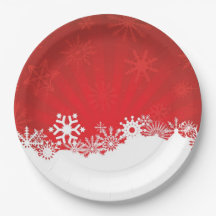 RED AND WHITE WINTER THEME 9 INCH PAPER PLATE