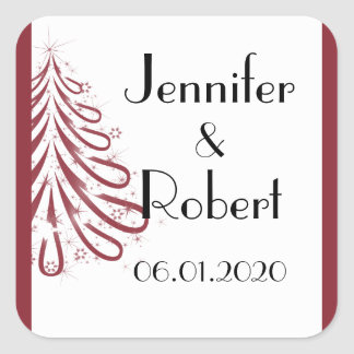 Red and White Winter Wedding Envelope Seal Square Sticker