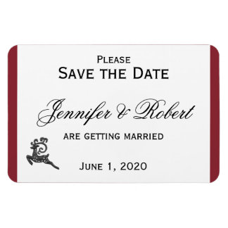 Red and White Winter Wedding Save the Date Rectangular Photo Magnet