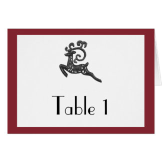 Red and White Winter Wedding Table Number