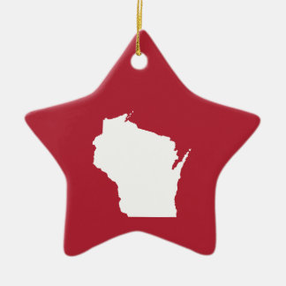 Red and White Wisconsin Ceramic Star Decoration