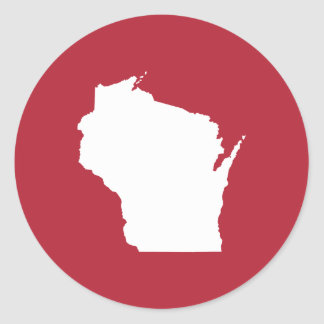 Red and White Wisconsin Classic Round Sticker