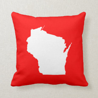 Red and White Wisconsin Cushion