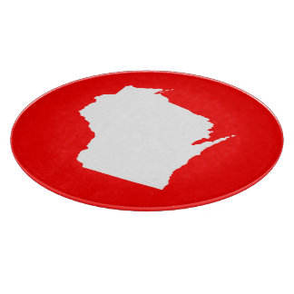 Red and White Wisconsin Cutting Board