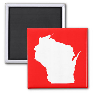 Red and White Wisconsin Magnet