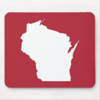 Red and White Wisconsin Shape Mouse Mat