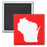 Red and White Wisconsin Square Magnet