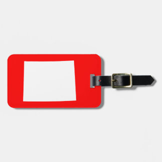 Red and White Wyoming Luggage Tag
