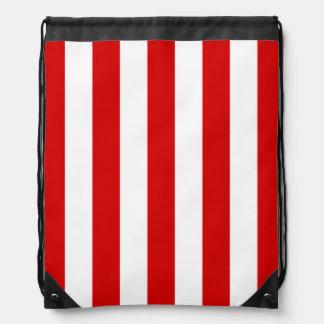 Red and White XL Stripes Pattern Rucksacks