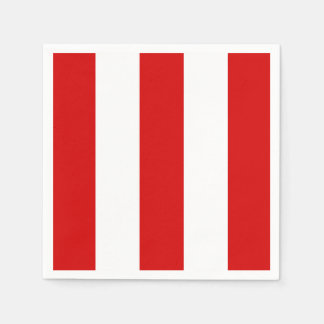 Red and White XL Stripes Pattern Disposable Napkins