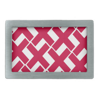 Red and White Xs Rectangular Belt Buckle