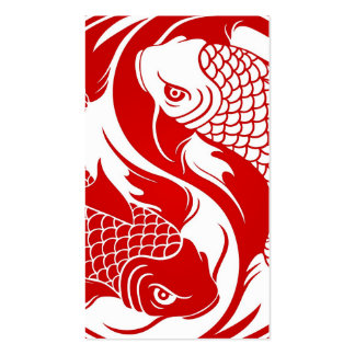 Red and White Yin Yang Koi Fish Business Card Template