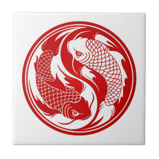 Red and White Yin Yang Koi Fish Tile