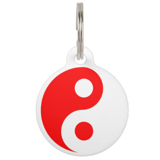 Red and White Yin Yang Pet Tag
