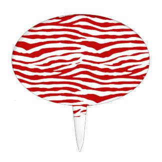 Red and White Zebra Stripes Cake Pick