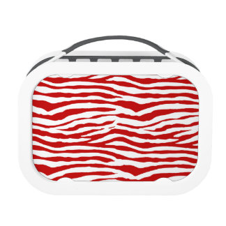 Red and White Zebra Stripes Yubo Lunch Boxes
