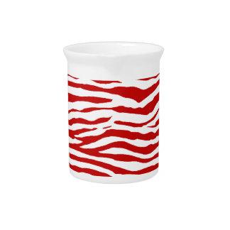 Red and White Zebra Stripes Pitchers