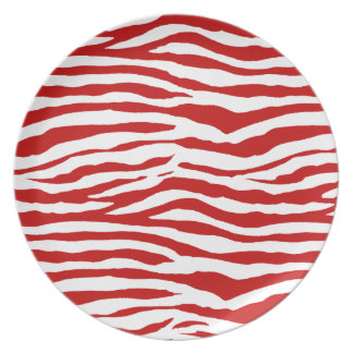Red and White Zebra Stripes Party Plate
