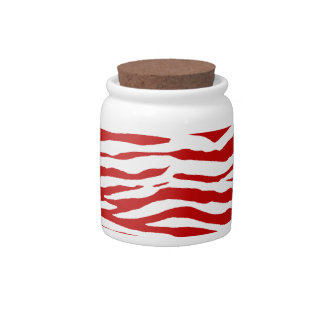 Red and White Zebra Stripes Candy Dish