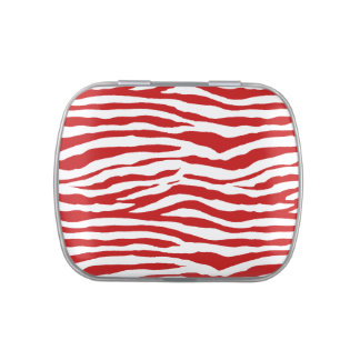 Red and White Zebra Stripes Jelly Belly Tin